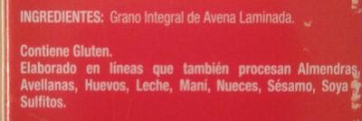 Avena Tradicional - Ingredients