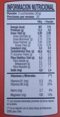 Avena Tradicional - Nutrition facts - es