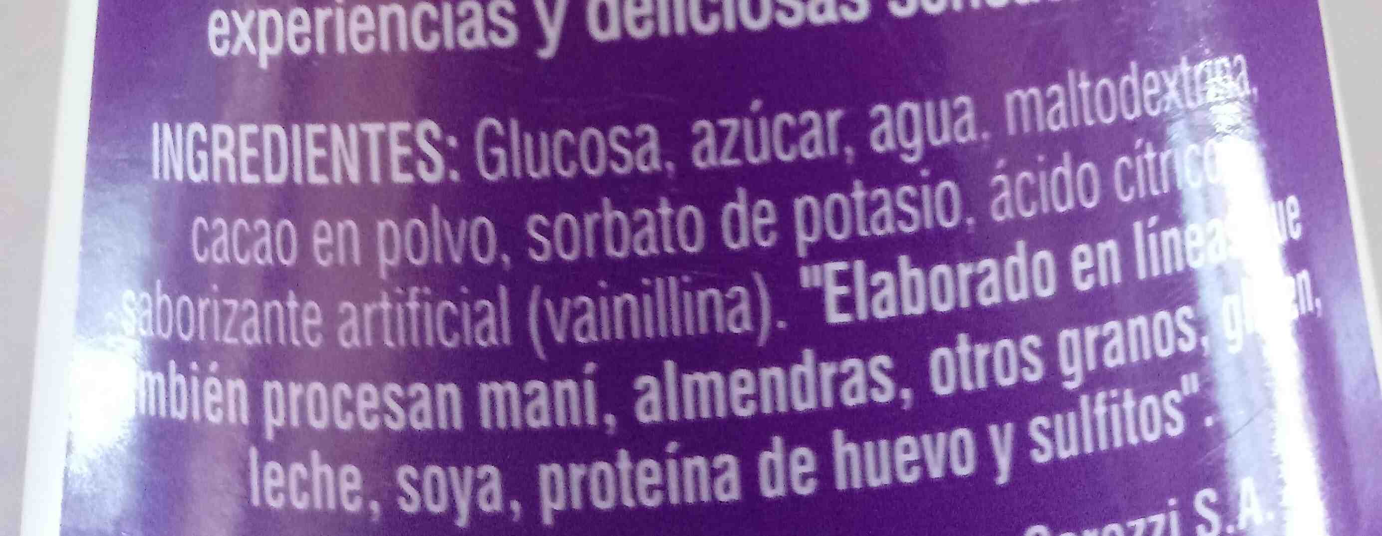salsa sabor a chocolate - Ingredients