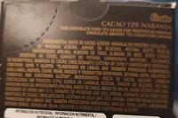 cacao 72% naranja - Ingrediënten - es