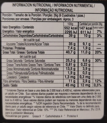 cacao 72% naranja - Voedingswaarden - es