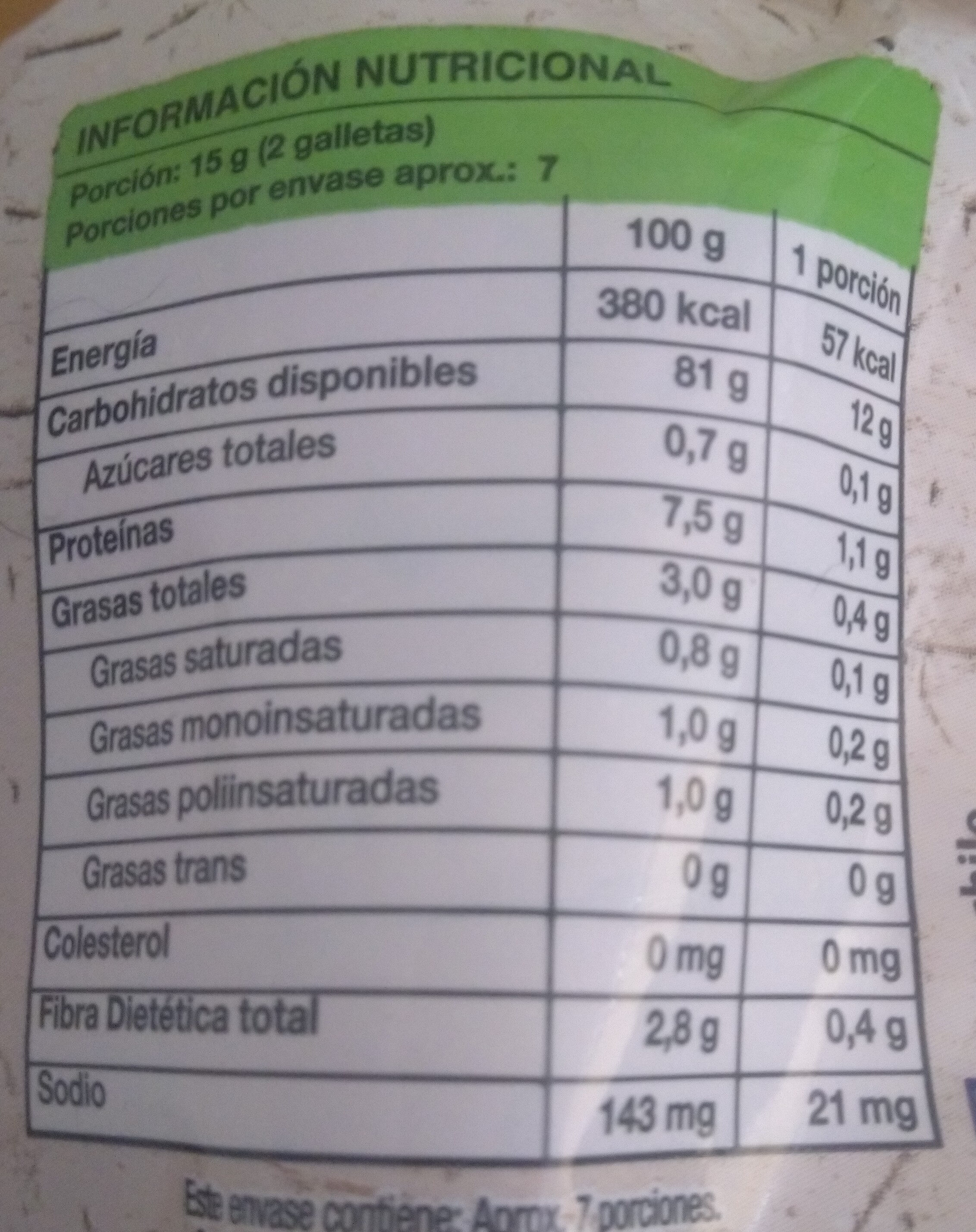 Galletas de arroz - Nutrition facts - es