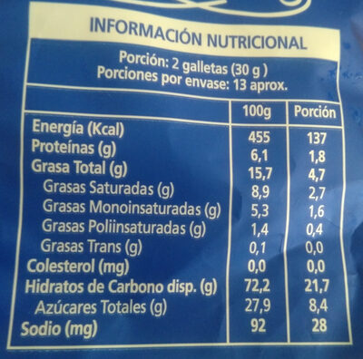 Galletas Chocochips - Nutrition facts - es