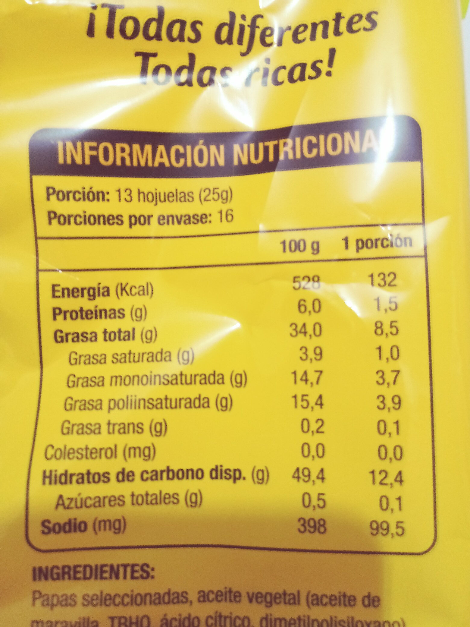 Papas fritas - Nutrition facts