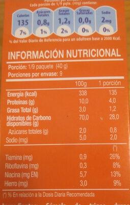 Lasaña precocida - Nutrition facts - es