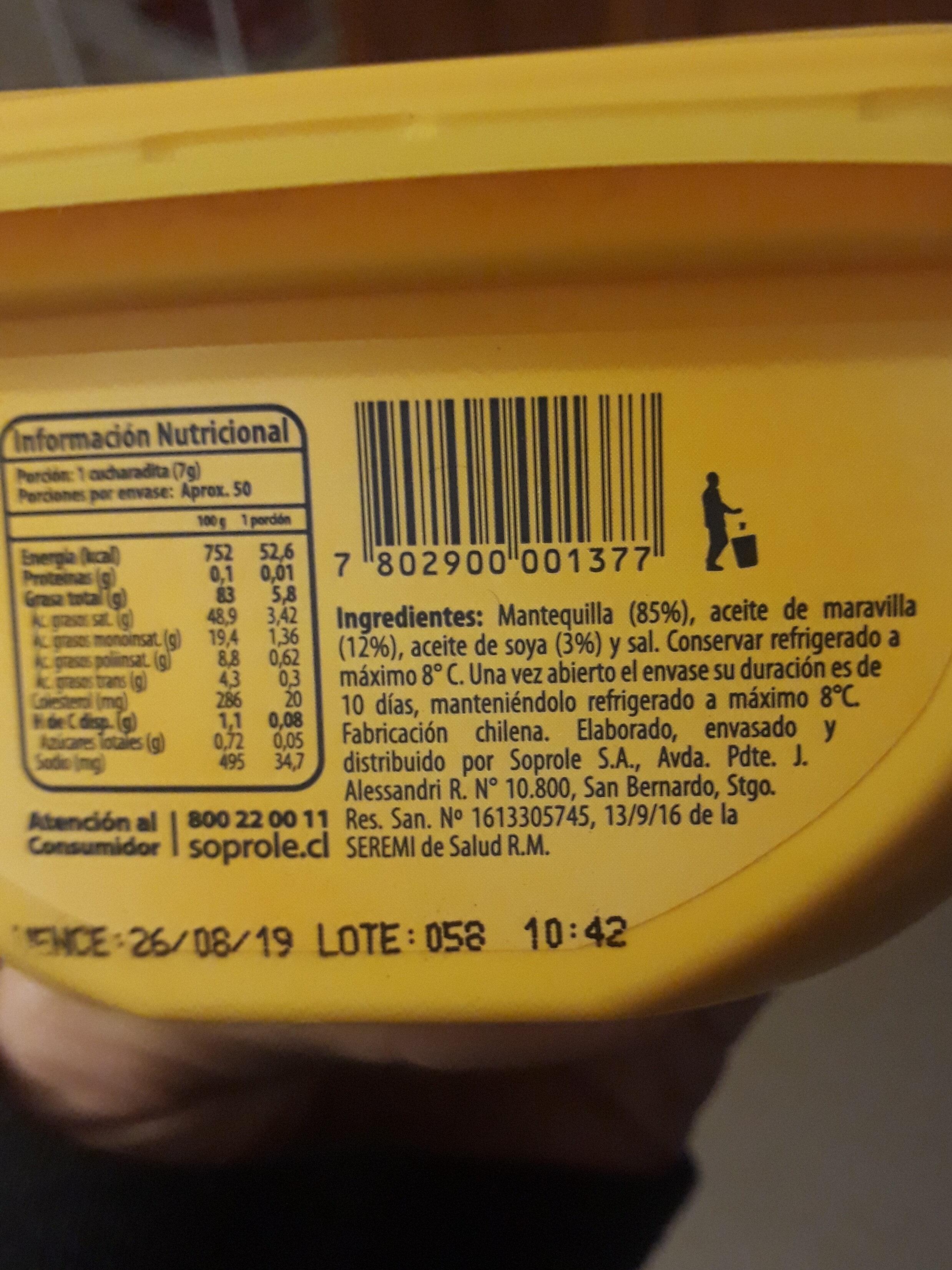 Mantequilla Soprole - Ingredients