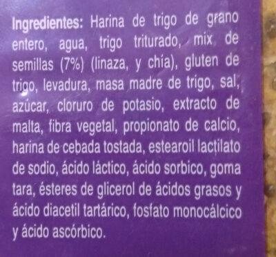 Pan Integral Linaza Chía - Ingredients - es