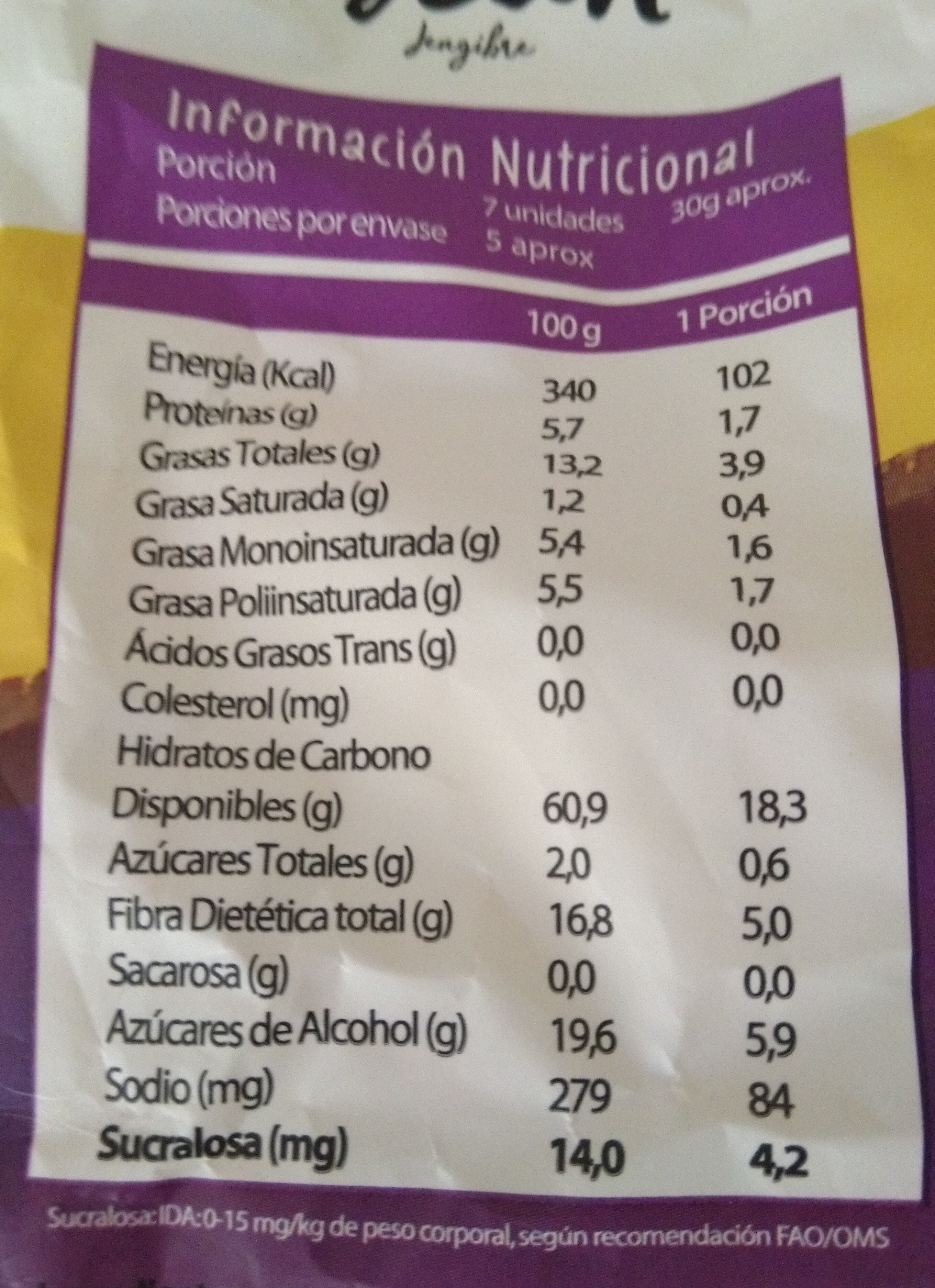 Biscuit Jengibre - Nutrition facts - es