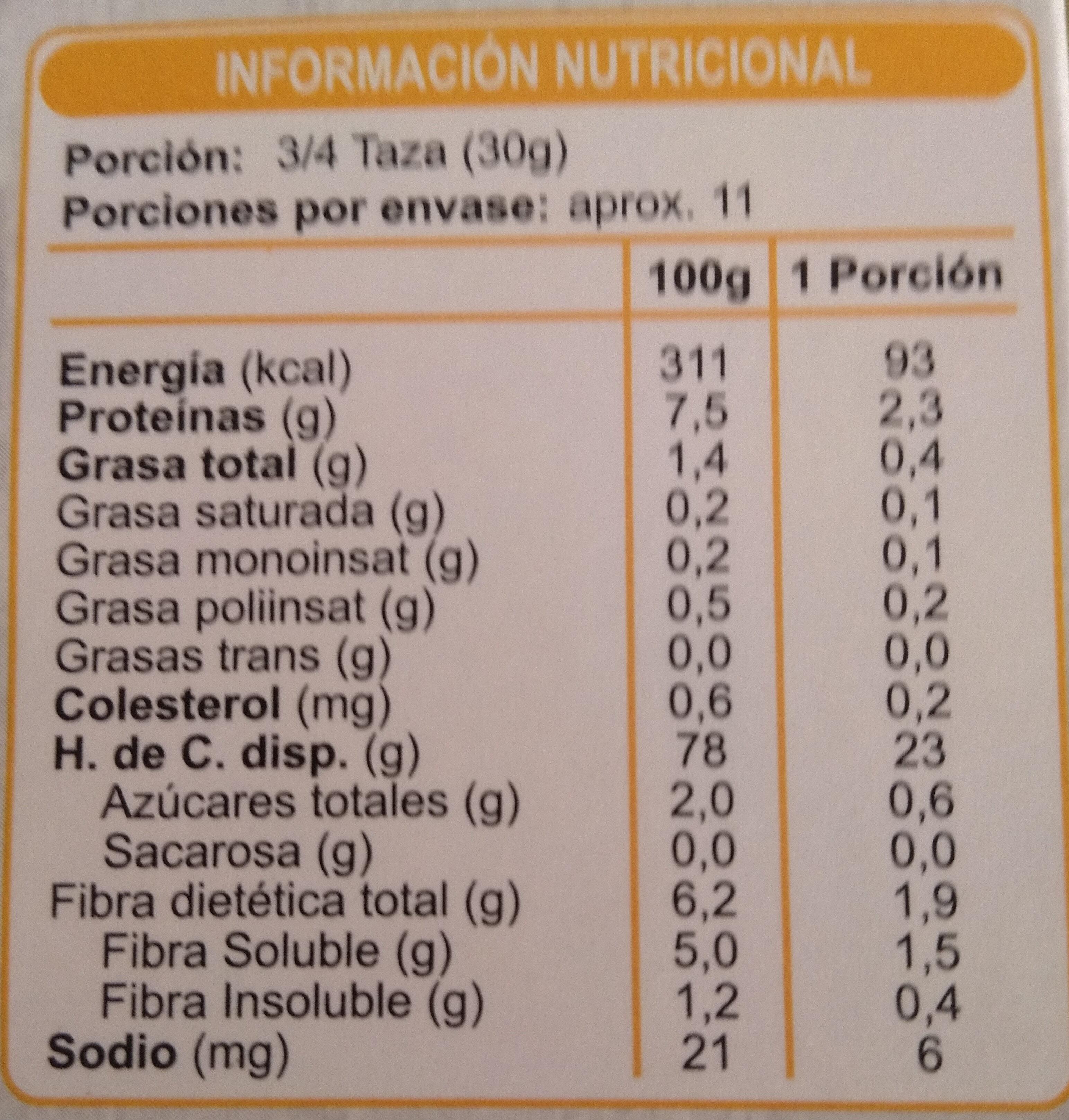 Cereal Enlínea Hojuelas de Maíz Endulzadas - Nutrition facts - es