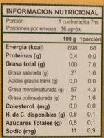 Aceite de Olivia Extra Virgen - Voedingswaarden - es