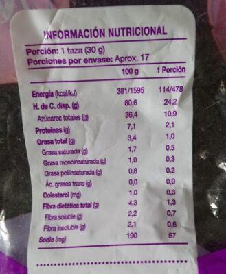 Cereal Maxima Bolitas Sabor Chocolate - Información nutricional - es