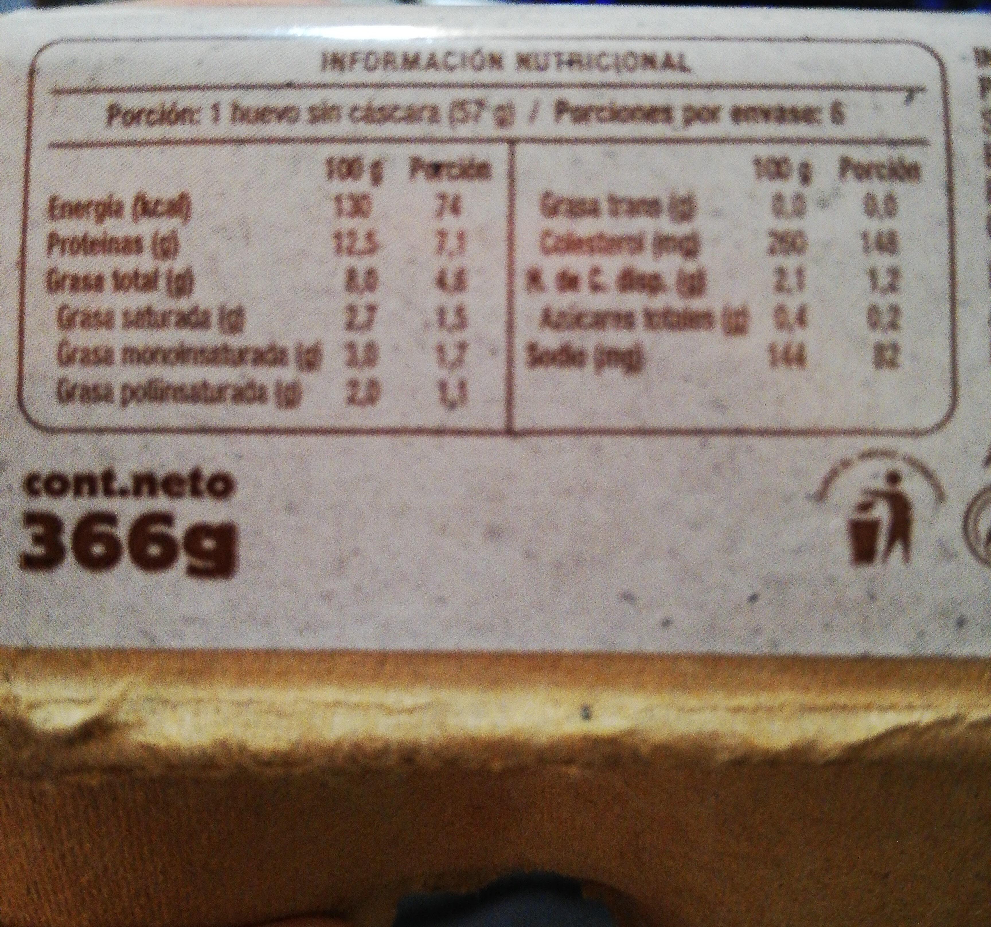 Huevos de gallinas libres! - Nutrition facts - es