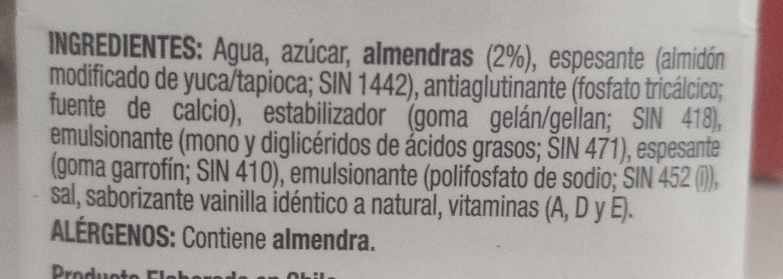 bebida de almendras - Ingrédients - es