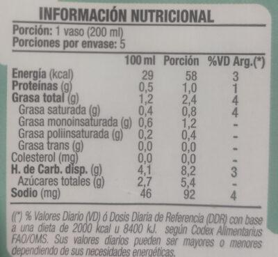 bebida de almendras - Informations nutritionnelles - es