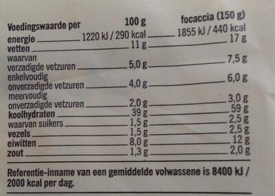 Focaccia Mozzarella - Voedingswaarden - nl