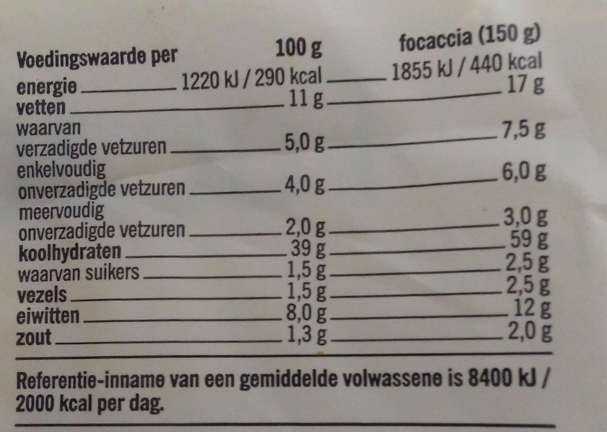 Focaccia Mozzarella - Voedingswaarden