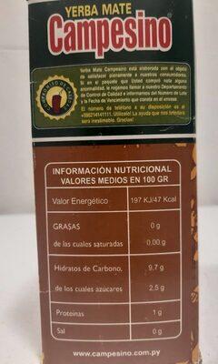 Yerba mate anís - Nutrition facts - es