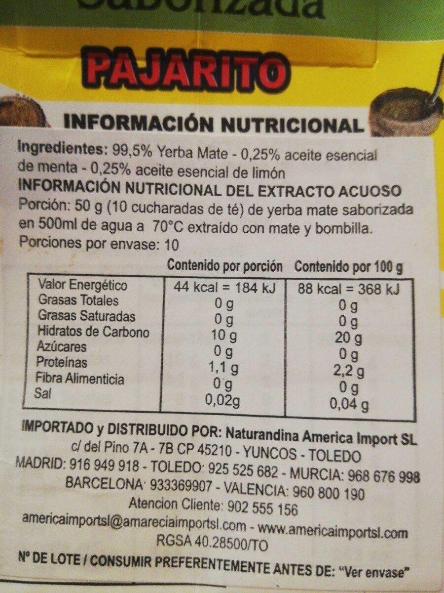 Yerba mate saborizada - Nutrition facts - es