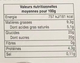 Crème caramel - Valori nutrizionali - fr
