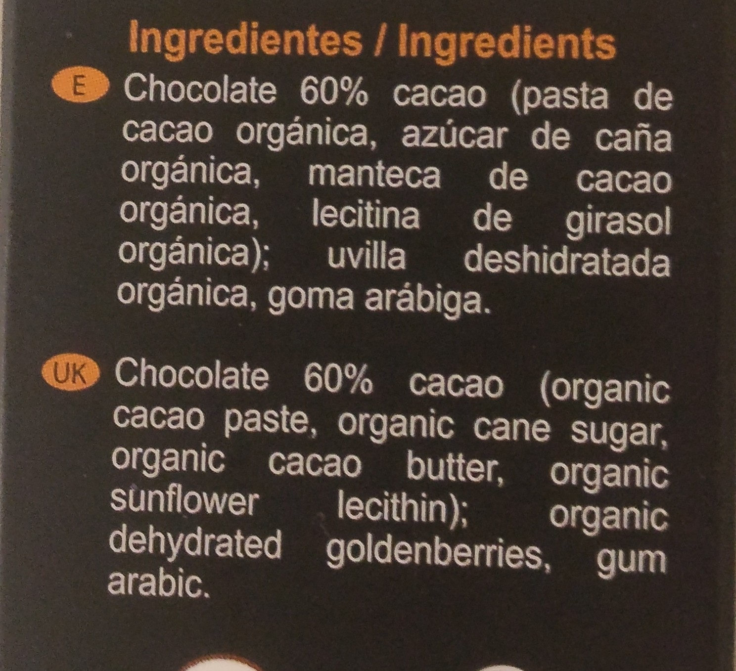 Cubierta con chocolate orgánico - Ingredients