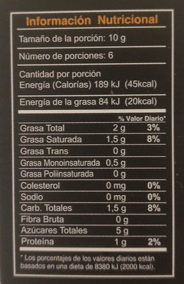 Cubierta con chocolate orgánico - Nutrition facts
