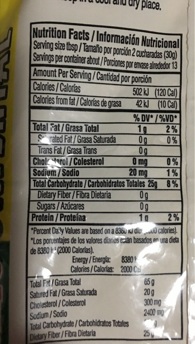 Polvo de plátano - Nutrition facts