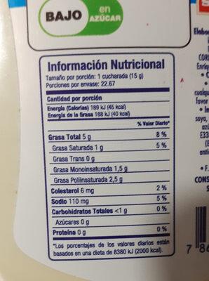 Mayonesa baja en calorias - Informations nutritionnelles - es