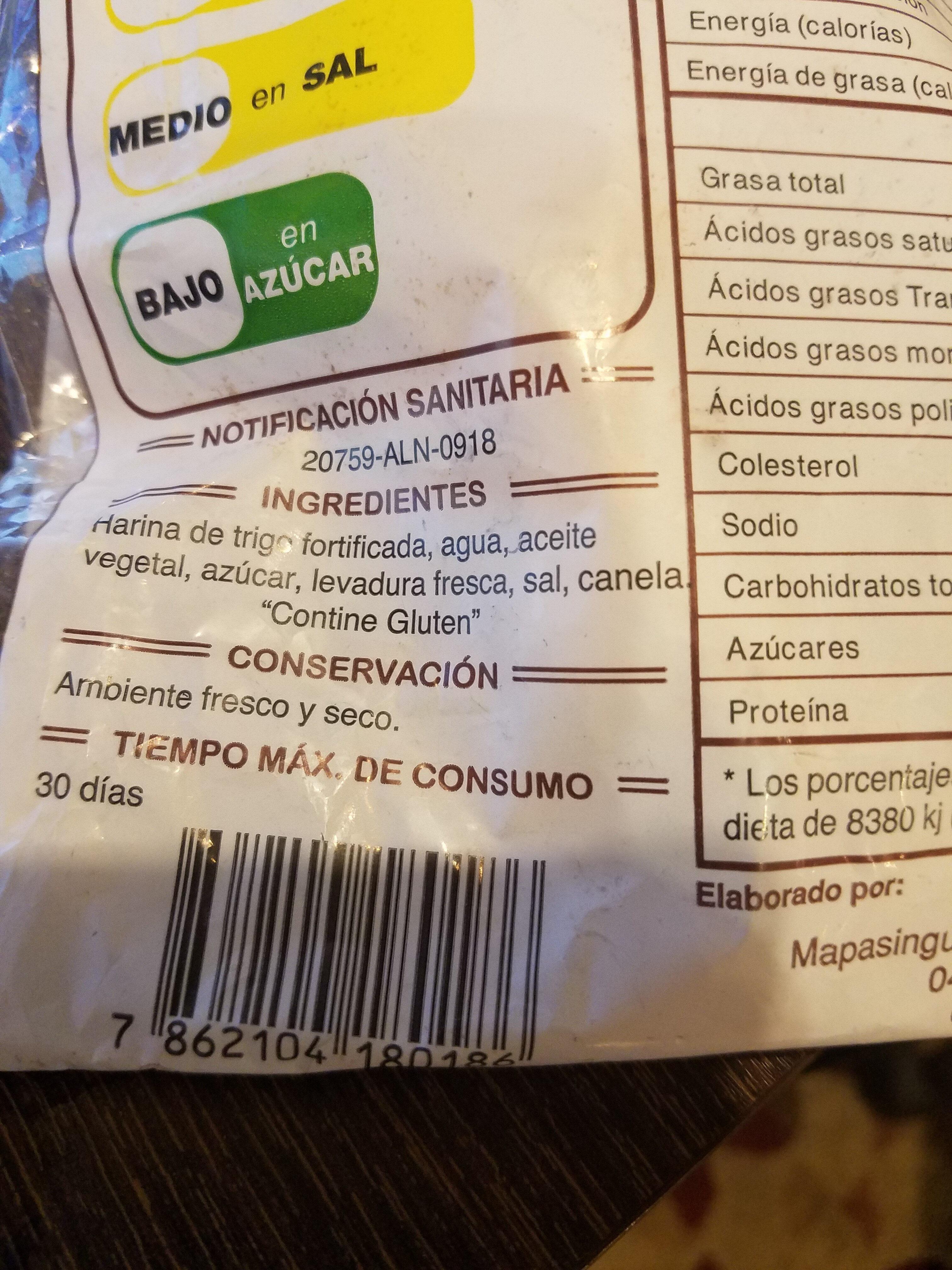 rosquitas de canela - Ingredients - es