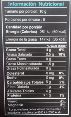 Chocolate organico 65% cacao manabi - Nutrition facts