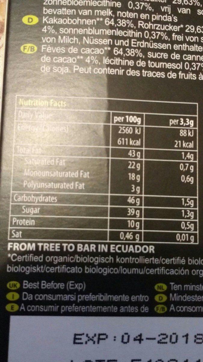Pacari Biodynamic Raw Chocolate 70% Cacao 50G - Ingredients