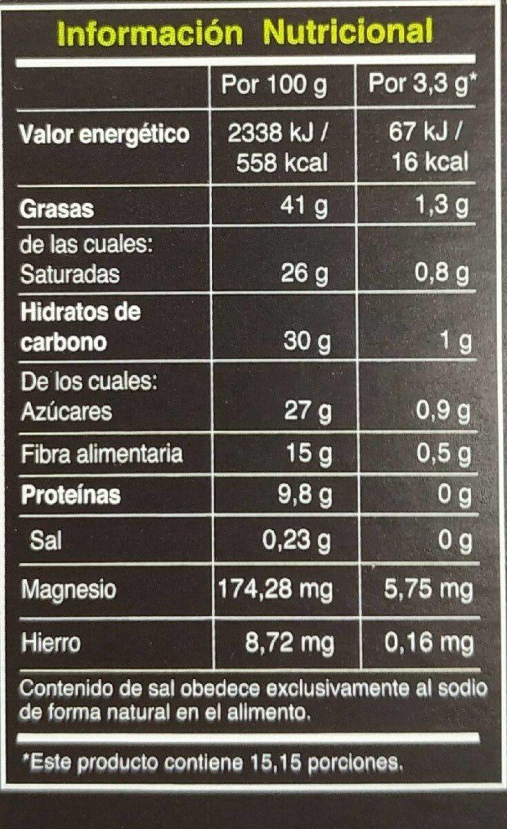 Pacari Biodynamic Raw Chocolate 70% Cacao 50G - Nutrition facts
