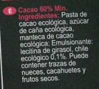 Chocolate ecológico con chile - Ingredients
