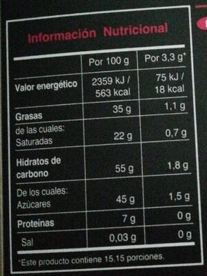 Chocolate ecológico con chile - Nutrition facts