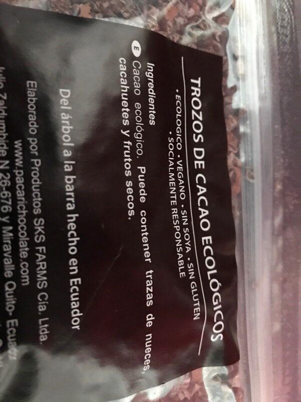 Trozos de cacao ecológicos - Ingredients