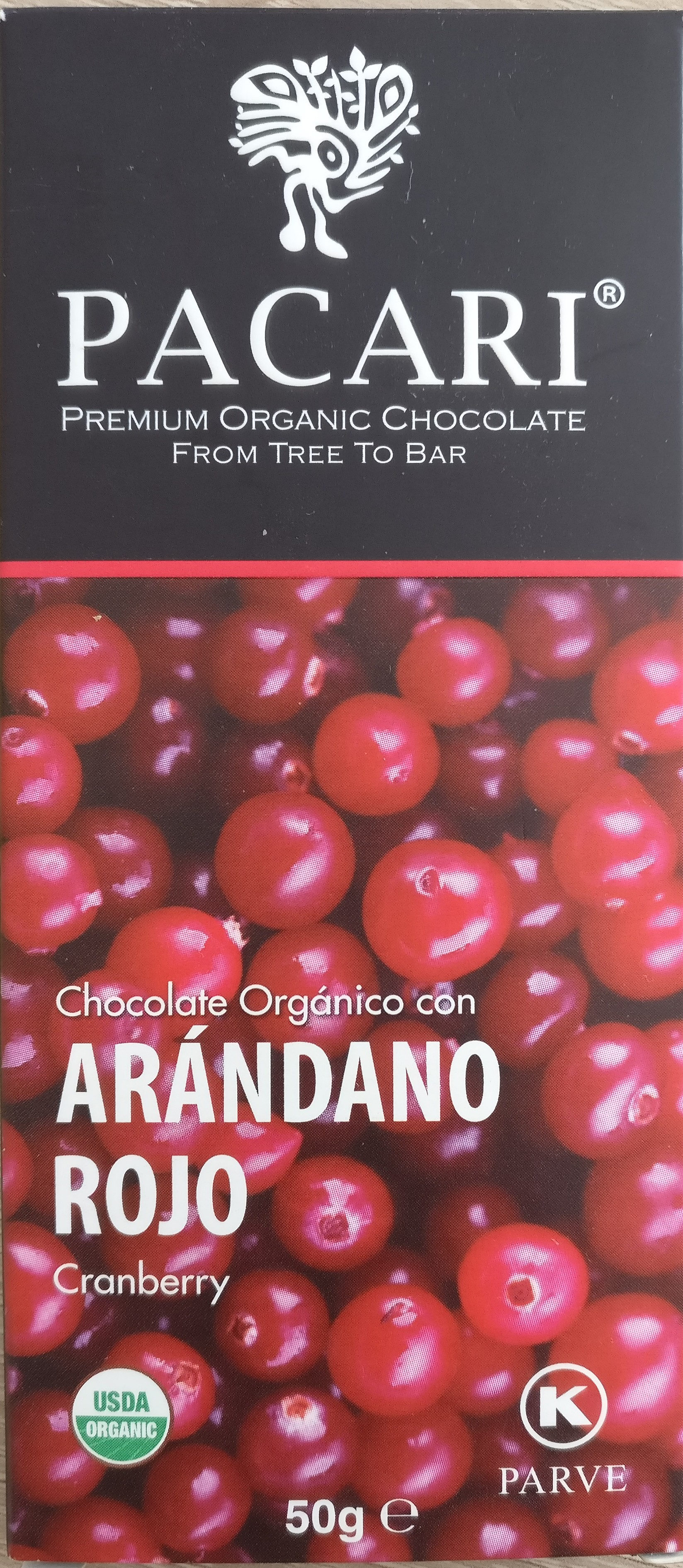 Organic chocolate with Cranberries - Product