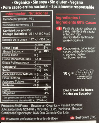 Organic chocolate with Cranberries - Ingredients