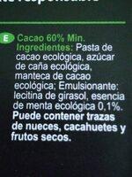 Chocolate ecólogico con aroma de menta - Ingredients