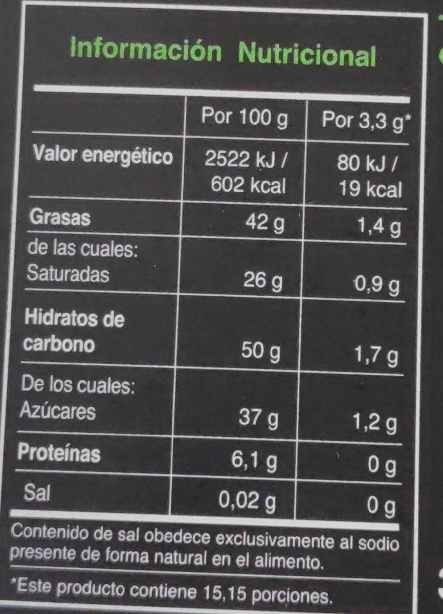 Chocolate ecólogico con aroma de menta - Nutrition facts