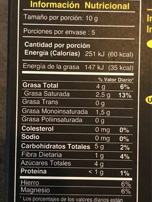 Chocolata Organico con Passion Fruit - Nutrition facts