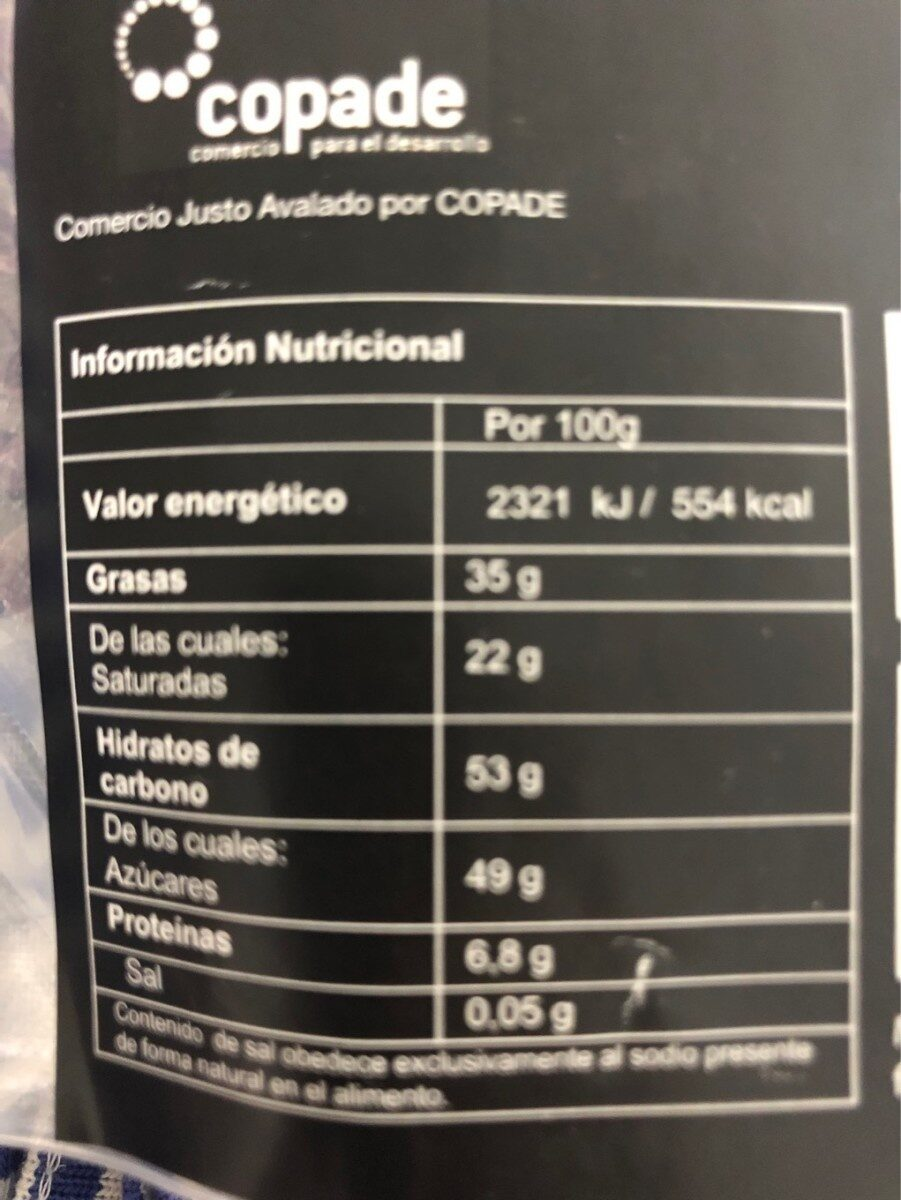 Cobertura chocolate ecologico - Nutrition facts