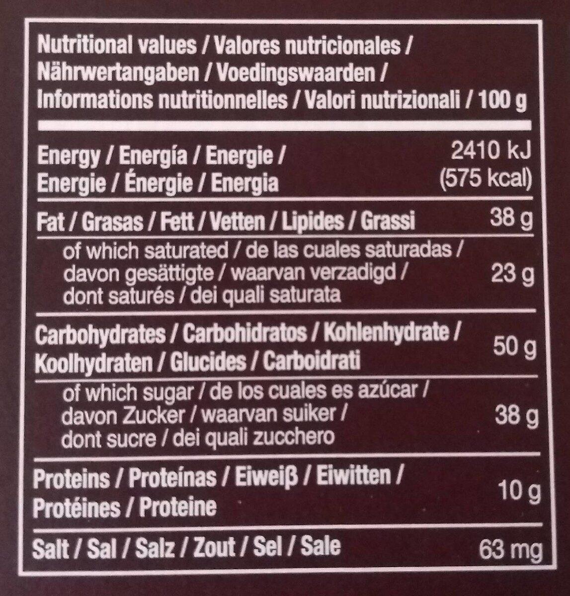 Chocolate 66% cacao fino de aroma - Información nutricional - es