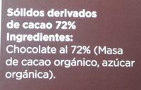 Chocolate 72% cacao - Ingredientes - es