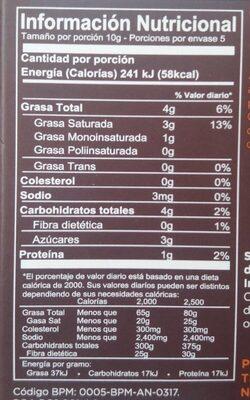 Chocolate 72% cacao - Información nutricional - es