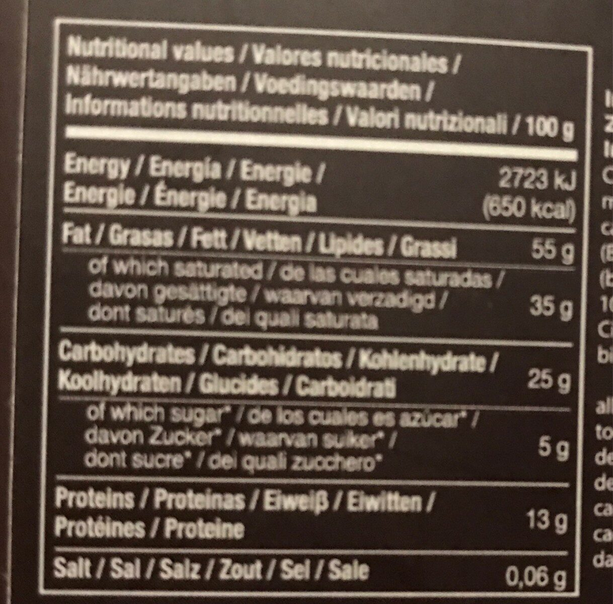 Cacao 100% sin azúcar - Información nutricional - es