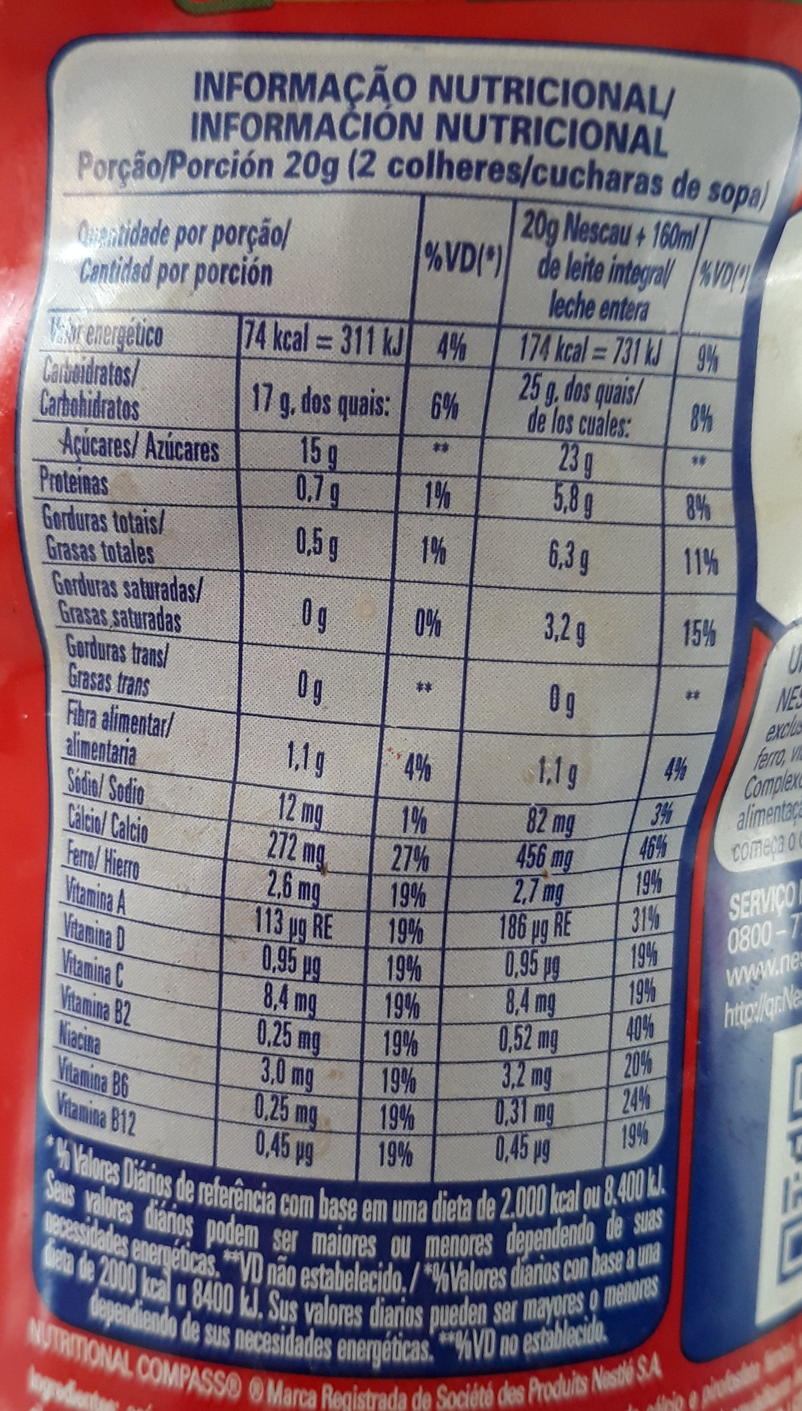Nescau 2.0 Actigen e 400g - Informação nutricional - pt