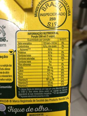 Leite Nestlé 1L Ninho - Informations nutritionnelles