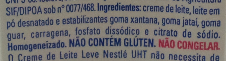 Nestlé Creme De Leite Leve - Ingredients