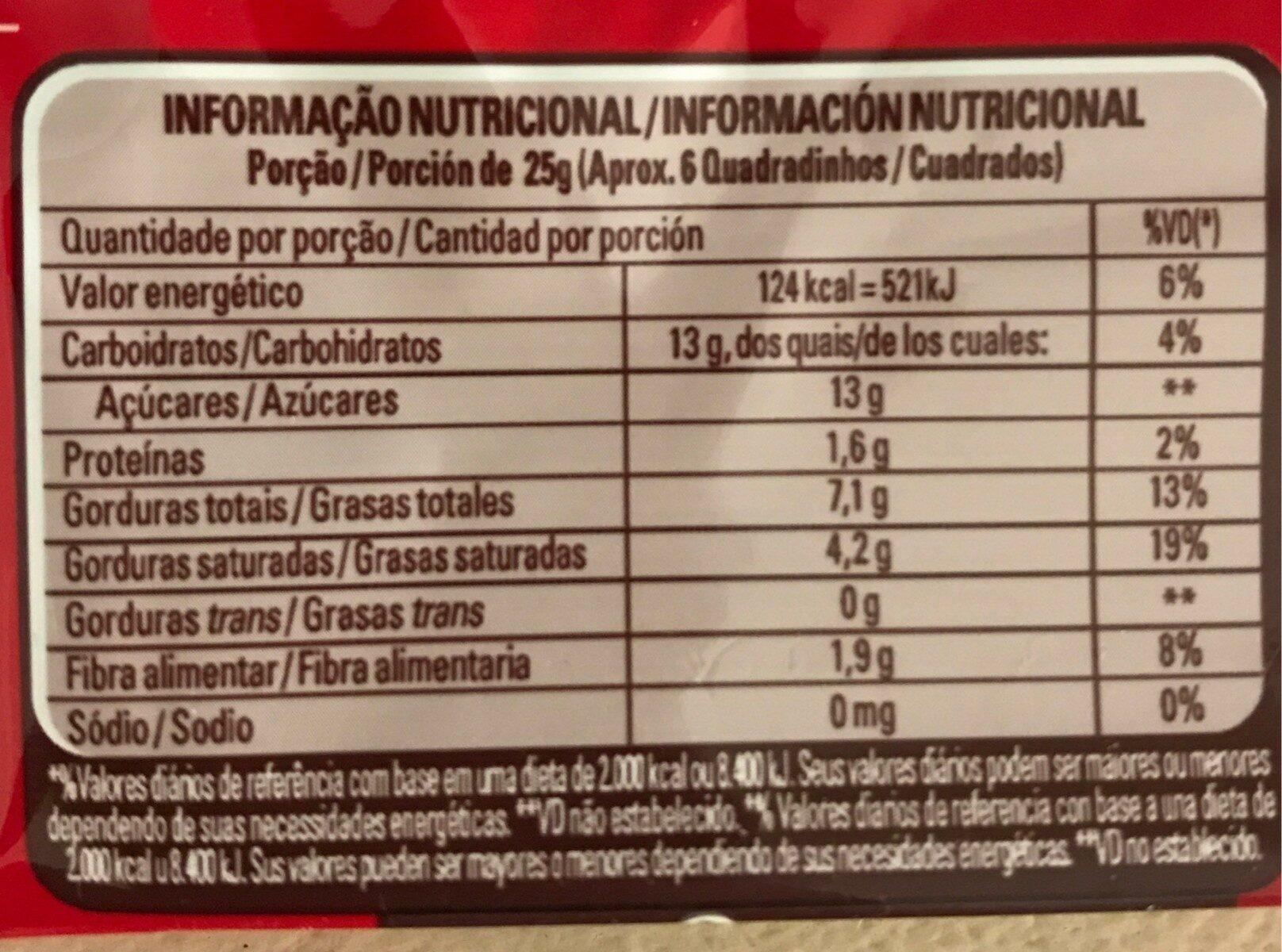 Classic meio amargo - Informação nutricional - fr