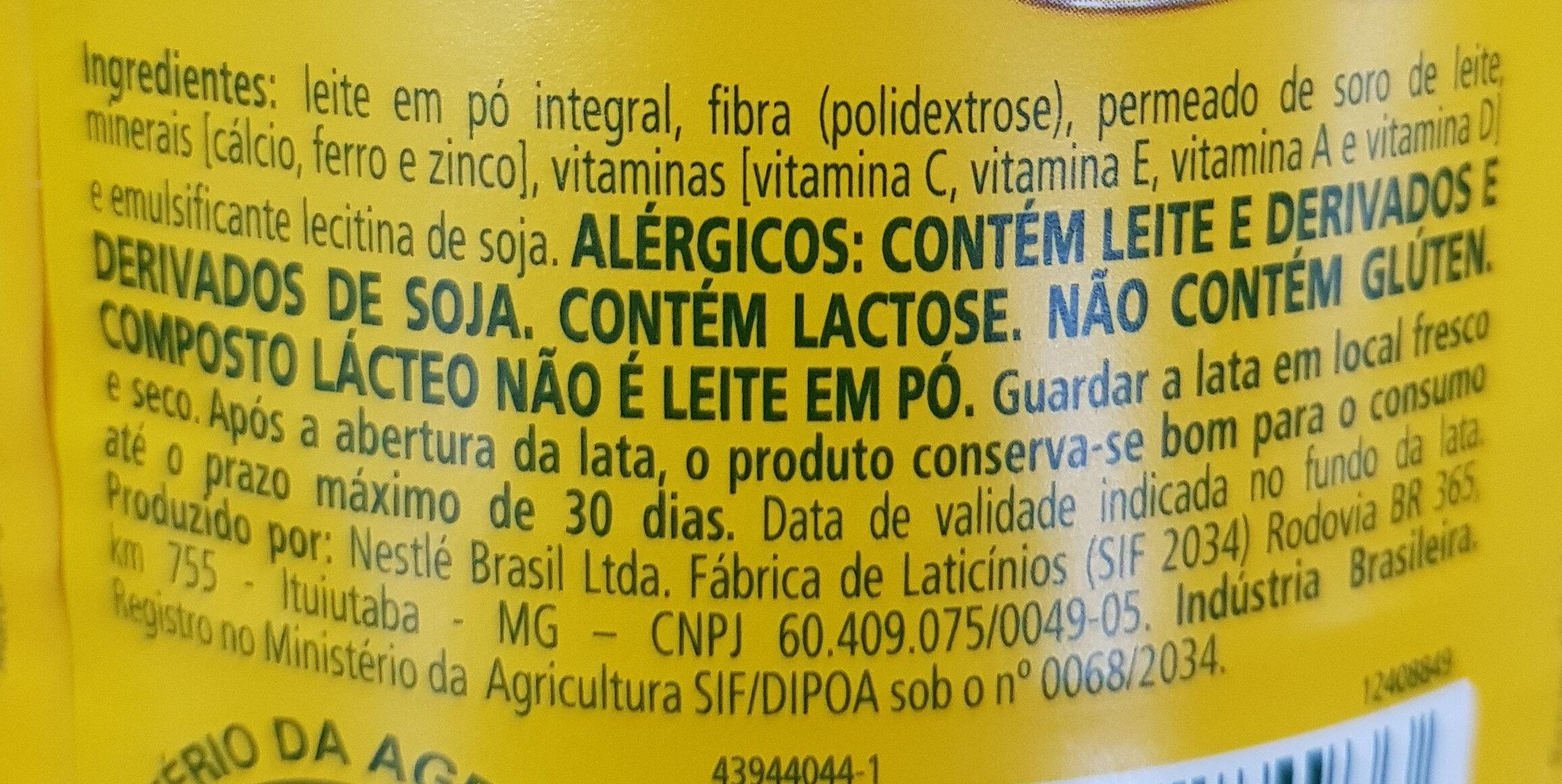 Ninho Forti + - Ingredientes - pt
