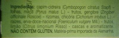 Chá misto - capim-cidreira, limão e gengibre - Ingrediënten